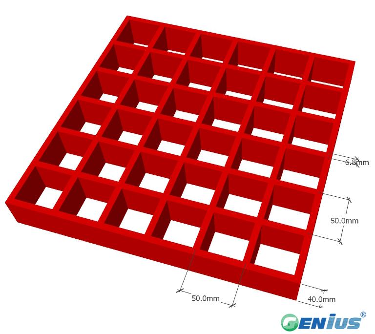 玻璃钢模塑格栅50*50H40